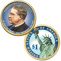 2013 Colorized Theodore Roosevelt Presidential Dollar
