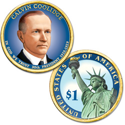 2014 Colorized Calvin Coolidge Presidential Dollar