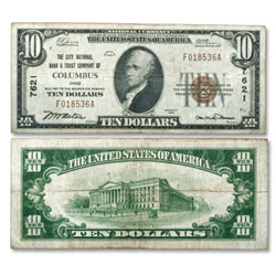 1929 $10 National Bank Note Type 1