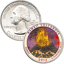 2012 Colorized Hawai'i Volcanoes National Park Quarter
