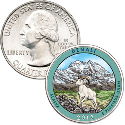 2012 Colorized Denali National Park Quarter
