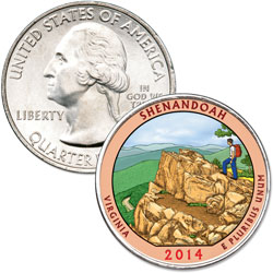 2014 Colorized Shenandoah National Park Quarter