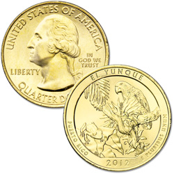 2012 Gold-Plated El Yunque National Forest Quarter