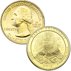 2012 Gold-Plated Hawai'i Volcanoes National Park Quarter