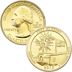 2013 Gold-Plated Fort McHenry National Monument and Historic Shrine Quarter
