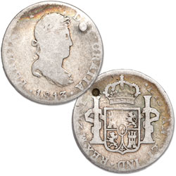 1812-1828 Spanish Milled Silver 2 Reales with Holes
