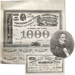 1863 Confederate States of America $1,000 Bond (Jefferson Davis and Richmond)