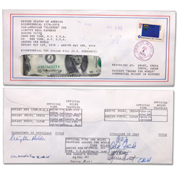 1976 $2 Round the World, Liberty Bell, Flight Note