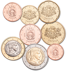 2014 Latvia Euro Set (8 coins)