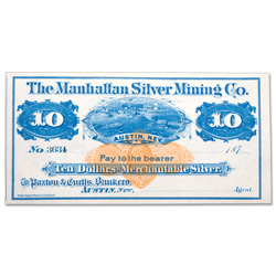 1870s $10 Manhattan Silver Mining Co. Scrip