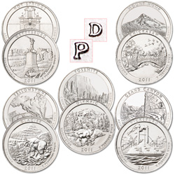 2010-2011 P&D America's National Park Quarter Set (20 coins)