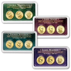 All Four 2007 PDS Presidential Dollar Sets in Exclusive Showpaks