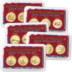 2009-2013 Five PDS Native American Dollar Sets in Showpaks