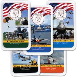 All Five 2014 Kennedy Half Dollars in Armed Forces Showpaks