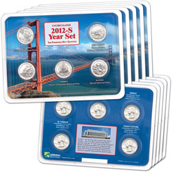 2012-S Five Uncirculated National Park Quarter Sets in Showpaks