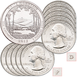 2013 5P & 5D White Mountain National Forest Quarter Set