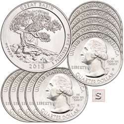 2013-S Ten Unc. Great Basin National Park Quarters