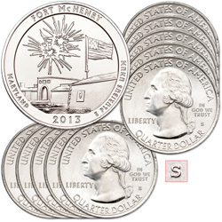 2013-S Ten Unc. Fort McHenry National Monument and Historic Shrine Quarters