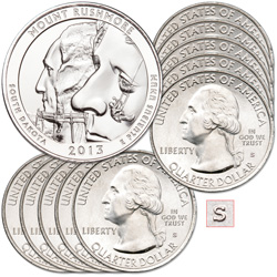 2013-S Ten Unc. Mount Rushmore National Memorial Quarters
