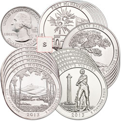 2013-S Five Unc. 4-Coin National Park Quarter Sets