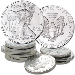 2014 Ten $1 Silver American Eagles