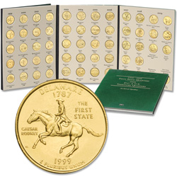 1999-2009 Complete 56-coin Gold-Plated Statehood, D.C. & U.S. Territories Quarter Set with Folder