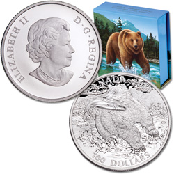 2014 Canada Silver $100 The Grizzly