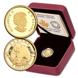 2014 Canada 1/10 oz. Gold $5 Grizzly Bear