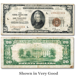 Series 1929 $20 Federal Reserve Bank Note