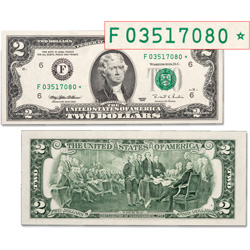 Series 1995 $2 Federal Reserve Note Star Note