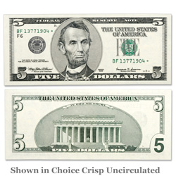 Series 1999 $5 Federal Reserve Star Note