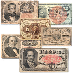 1862-1876 Fractional Currency Set (6 pieces)