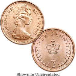 1971-1981 Great Britain Bronze 1/2 New Penny