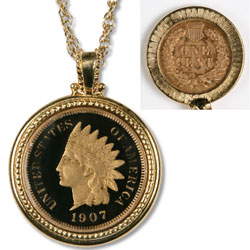 Enameled Indian Head Cent Necklace