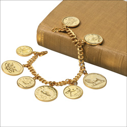 Gold-Plated World Coin Bracelet