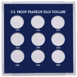 Handcrafted Capital Holder 1955-1963 Proof Franklin Half Dollar Year Set, (holds 9-Coins)