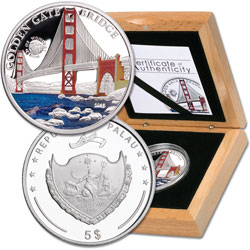 2013 Palau Silver $5 Golden Gate Bridge