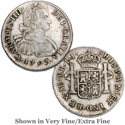 1791-1808 Spanish Colonial Silver 2 Reales, Charles IV