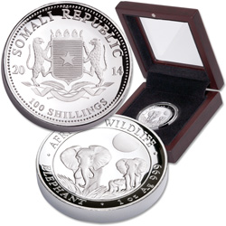 2014 Somali Republic 100 Shillings 1 oz. Silver Elephant