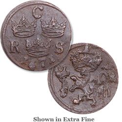 1666-86 Sweden Copper 1/6 Ore