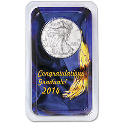 2014 Silver American Eagle in Graduation Showpak