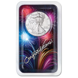 2014 Silver American Eagle in Congratulations Showpak