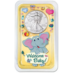 2014 Silver American Eagle in Welcome Baby Showpak