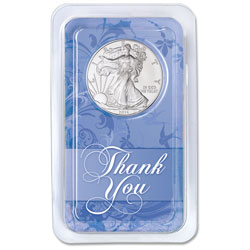2014 Silver American Eagle in Thank You Showpak