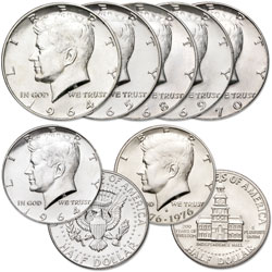 1964-1976 Silver Kennedy Half Dollar Collection (7 coins)