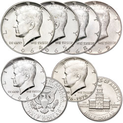 1964-1976 Silver Kennedy Half Dollar Collection (6 coins)