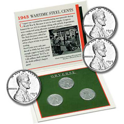 1943 PDS Wartime Steel Cent Set