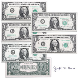 1963B Complete $1 Federal Reserve Barr Note Set (5 notes)