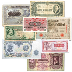 1910-1963 Set of 8 European Bank Notes