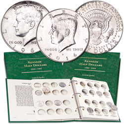 1964-2014 Kennedy Half Dollar Set (34 coins) with 3 Albums